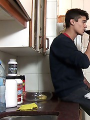 Two dating twinks get it on in the kitchen